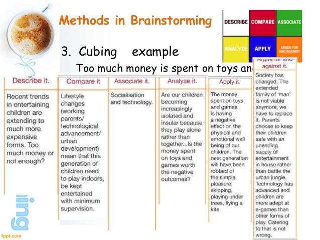 example of brainstorming in writing