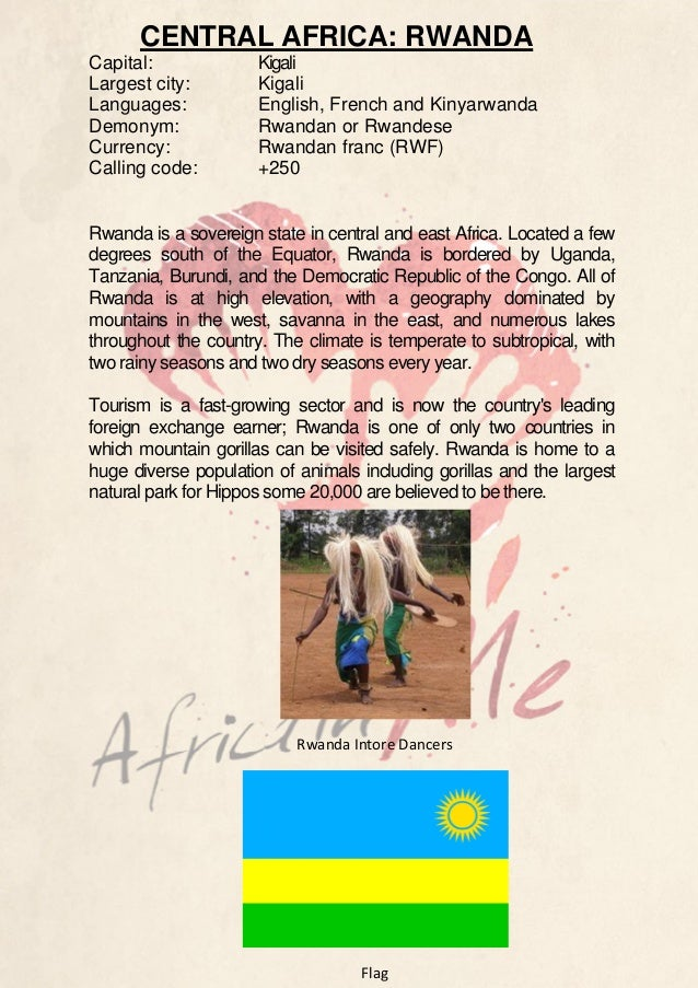 CENTRAL AFRICA: RWANDA Capital: Largest city: Languages: Demonym: Currency: Calling code:  Kigali Kigali English, French a...