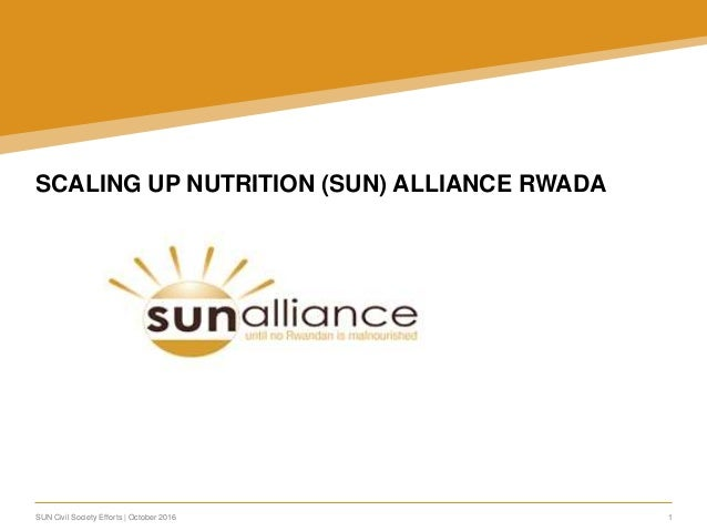 SUN Civil Society Efforts | October 2016 1 SCALING UP NUTRITION (SUN) ALLIANCE RWADA: