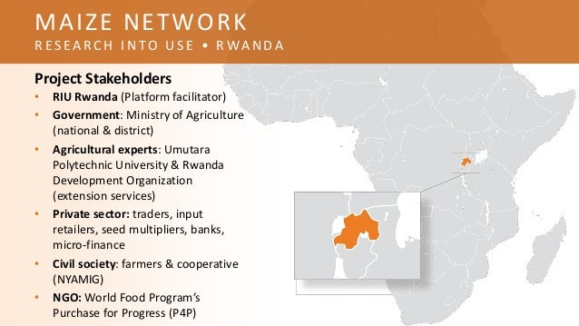 Project Stakeholders • RIU Rwanda (Platform facilitator) • Government: Ministry of Agriculture (national & district) • Agr...