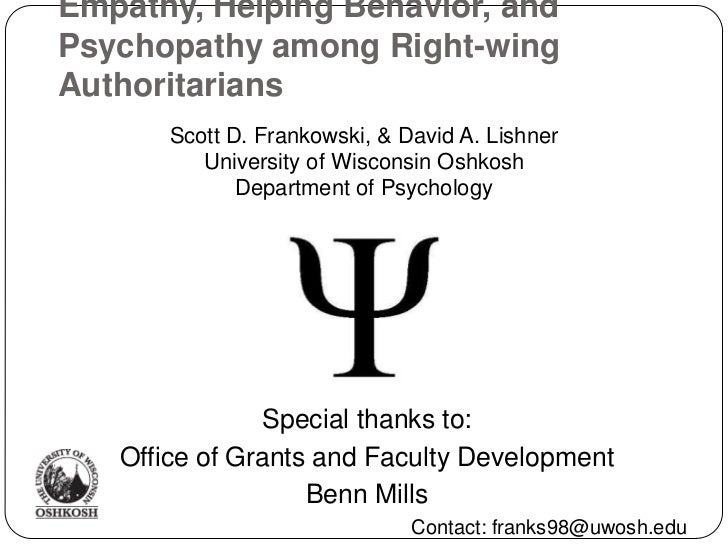 Empathy, Helping Behavior, and Psychopathy among Right-wing Authoritarians<br />Special thanks to:<br />Office of Grants a...
