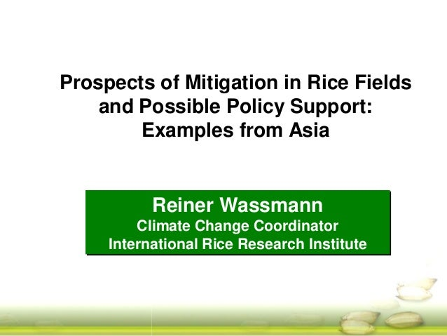 Prospects of Mitigation in Rice Fields and Possible Policy Support: Examples from Asia  Reiner Wassmann Climate Change Coo...