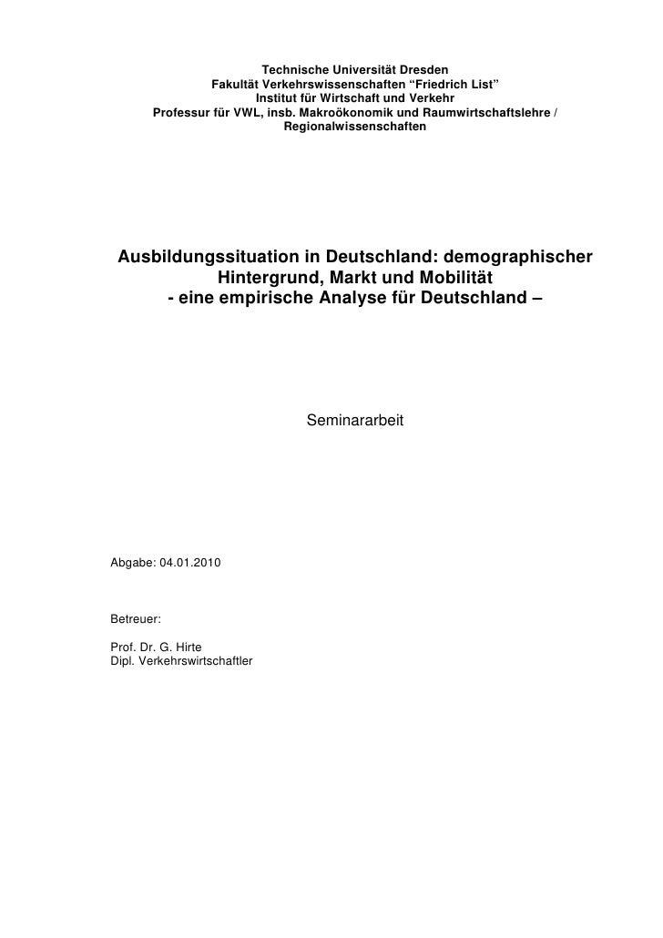 """Technische Universität Dresden                 Fakultät Verkehrswissenschaften """"Friedrich List""""                        Ins..."""