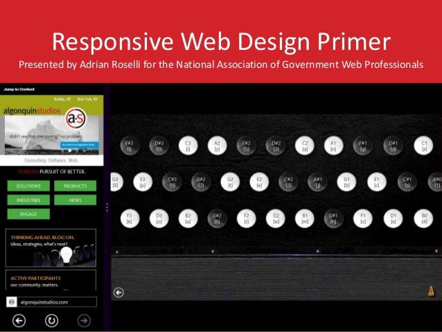 Responsive Web Design Primer  Presented by Adrian Roselli for the National Association of Government Web Professionals