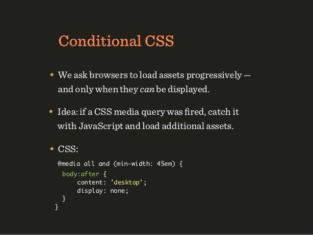 "Responsive Videos• HTML: <video controls preload=""none""> <source type=""video/mp4"" src=""video_small.mp4""     media=""all and..."