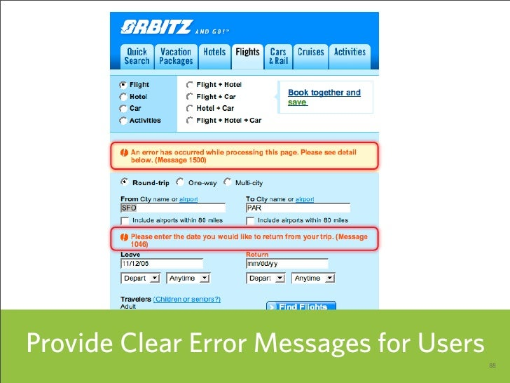 Provide Clear Error Messages for Users                                          88