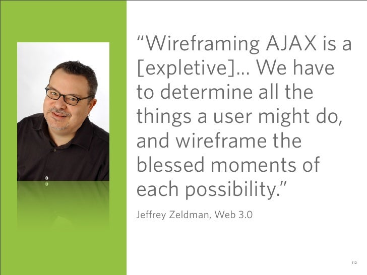 """Wireframing AJAX is a [expletive]... We have to determine all the things a user might do, and wireframe the blessed momen..."
