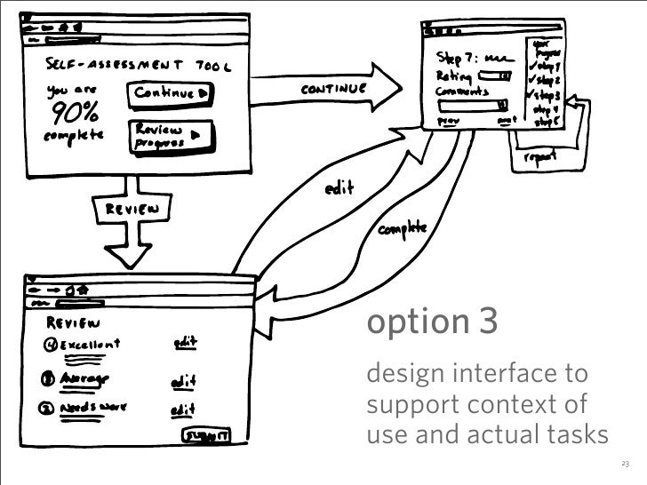 option 3 design interface to support context of use and actual tasks                        23