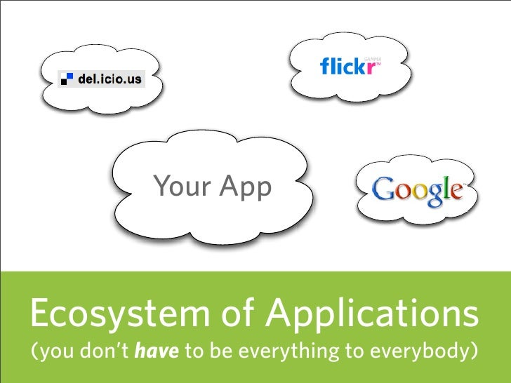 Your App    Ecosystem of Applications (you don't have to be everything to everybody)   52