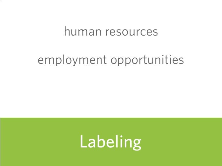 human resources  employment opportunities           Labeling                            61