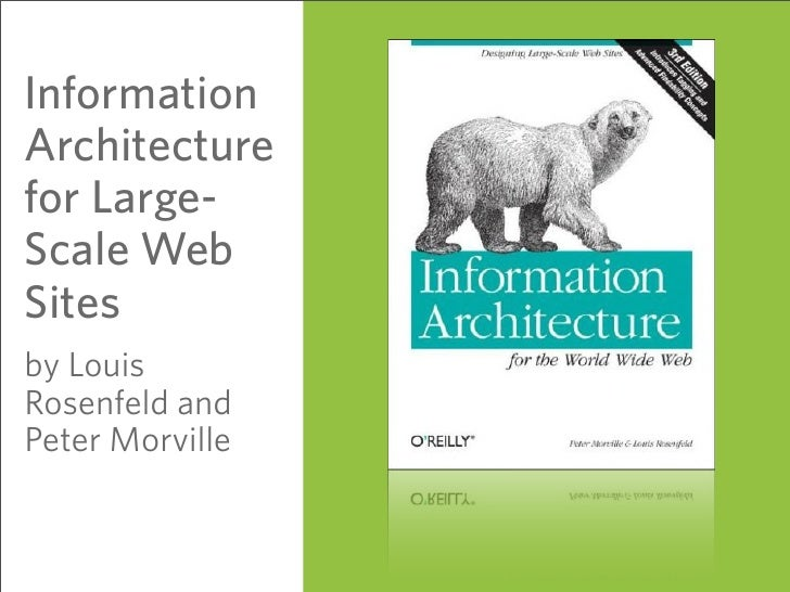 Information Architecture for Large- Scale Web Sites by Louis Rosenfeld and Peter Morville                    63