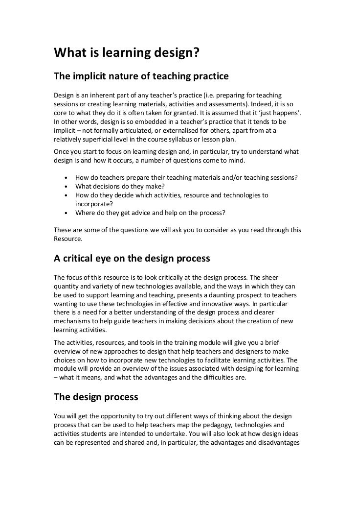 What is learning design?The implicit nature of teaching practiceDesign is an inherent part of any teacher's practice (i.e....