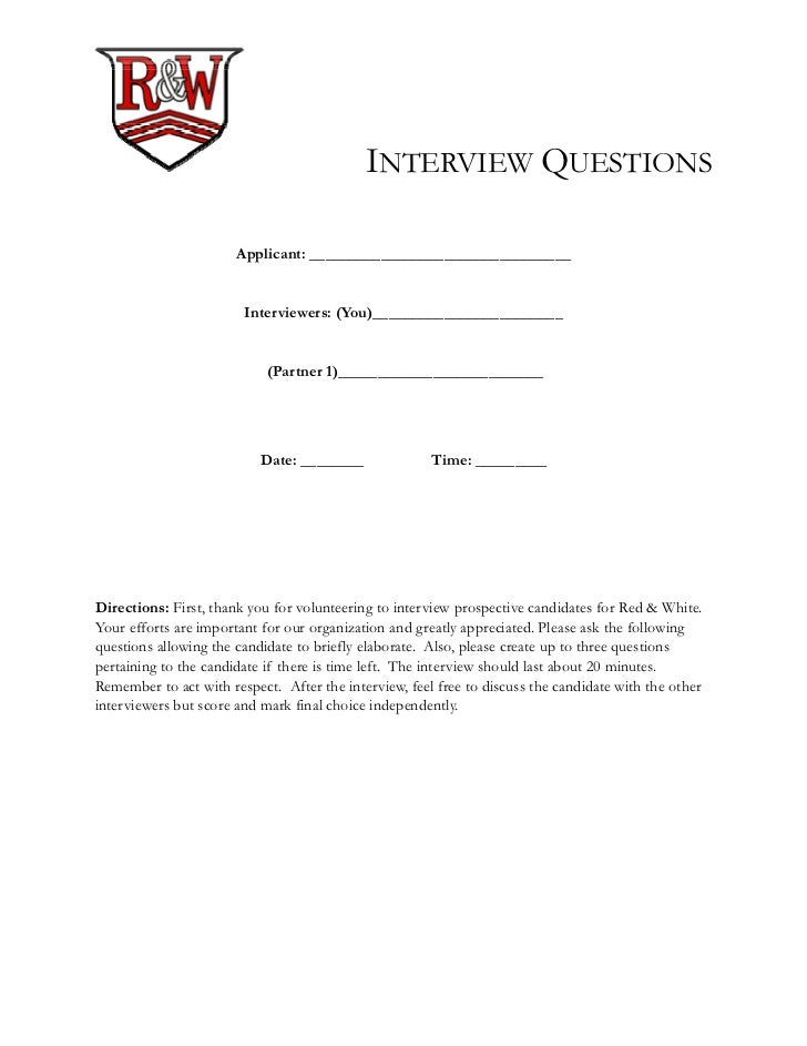 Red  White Student Organization  Sample Interview Questions