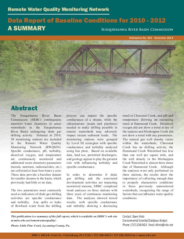 Remote Water Quality Monitoring Network  Data Report of Baseline Conditions for 2010 - 2012 A SUMMARY Susquehanna River Ba...