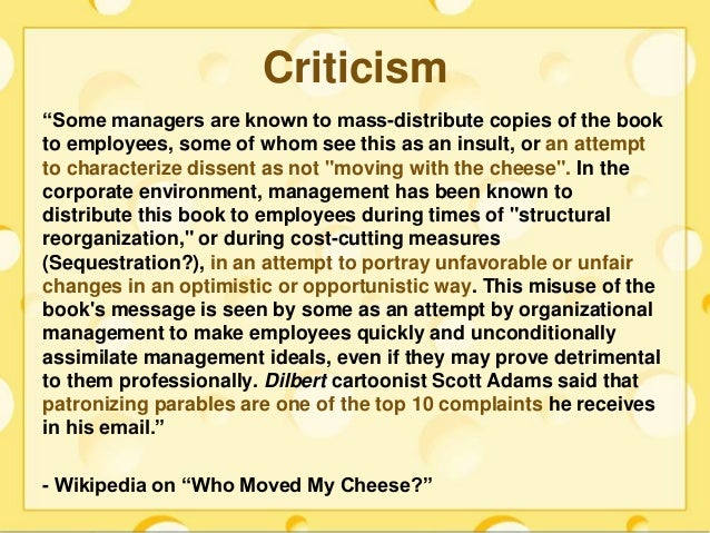 who stole my cheese Buy who moved my cheese: an amazing way to deal with change in your work and in your life reprinted ed by dr spencer johnson (isbn: 8601400456279) from amazon's book store.