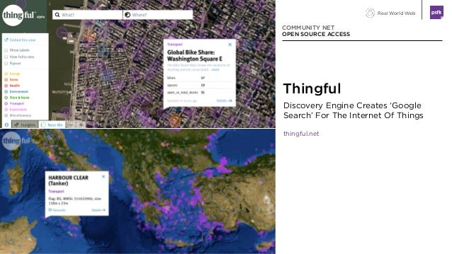Real World Web Discovery Engine Creates 'Google Search' For The Internet Of Things thingful.net COMMUNITY NET OPEN SOURCE ...