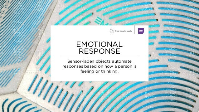 Sensor-laden objects automate responses based on how a person is feeling or thinking. EMOTIONAL RESPONSE Real World Web