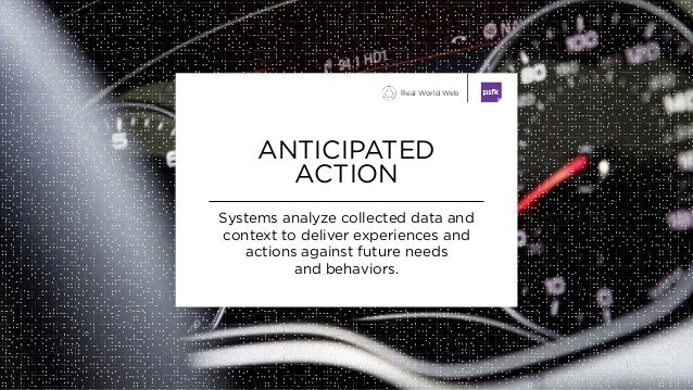 Systems analyze collected data and context to deliver experiences and actions against future needs and behaviors. ANTICIPA...