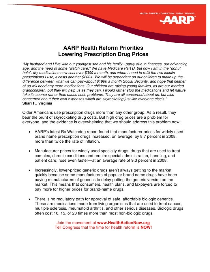"""AARP Health Reform Priorities                      Lowering Prescription Drug Prices """"My husband and I live with our young..."""