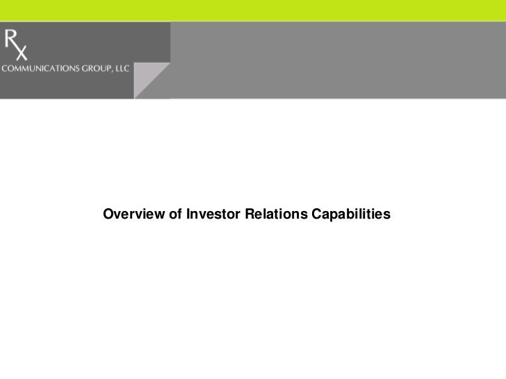 Overview of Investor Relations Capabilities