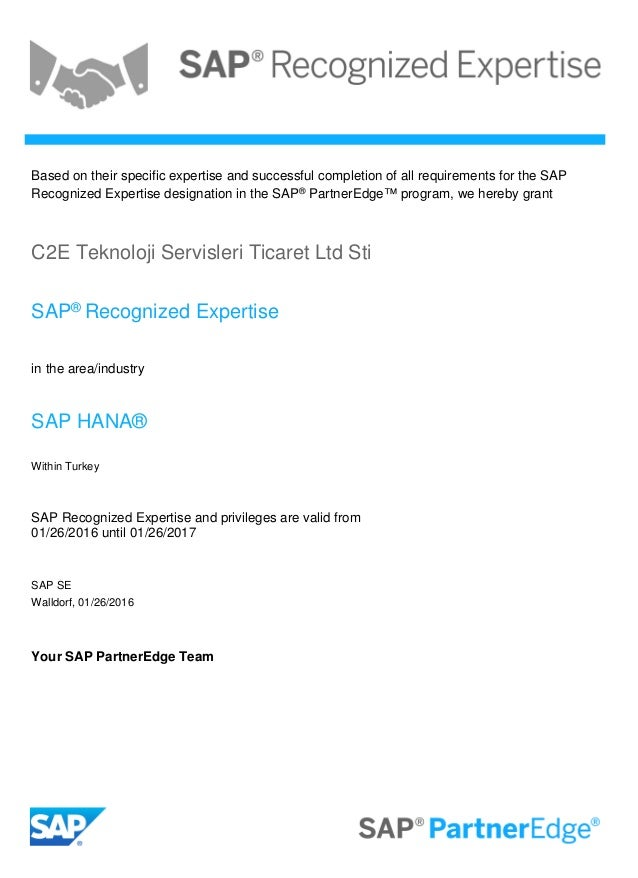 Sap Recognized Expertise In The Area Sap Hana Certificate