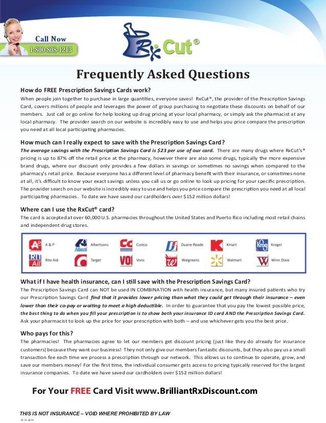 RxCut FREE Pharmacy Discount Card Frequently Asked Questions