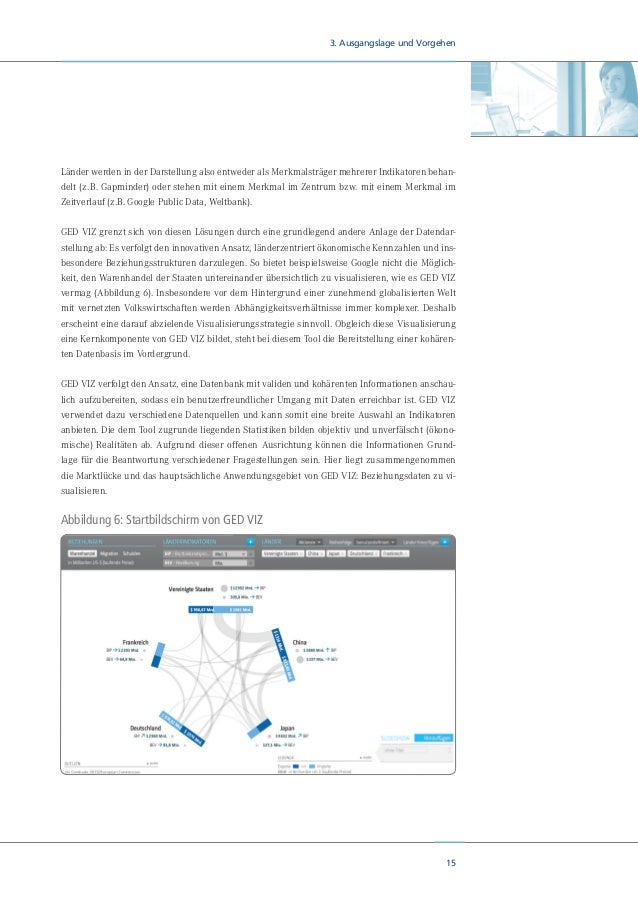 17 3. Ausgangslage und Vorgehen 3.2 Entwicklungsstand von GED VIZ Einen ersten Prototypen zur Darstellung internationaler ...