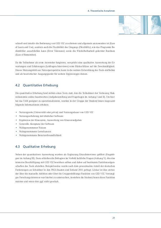 23 5. Nutzertests: Empirische Ergebnisse Aus Sicht des Dozenten fiel zunächst die leichte Verknüpfung von GED VIZ mit der ...