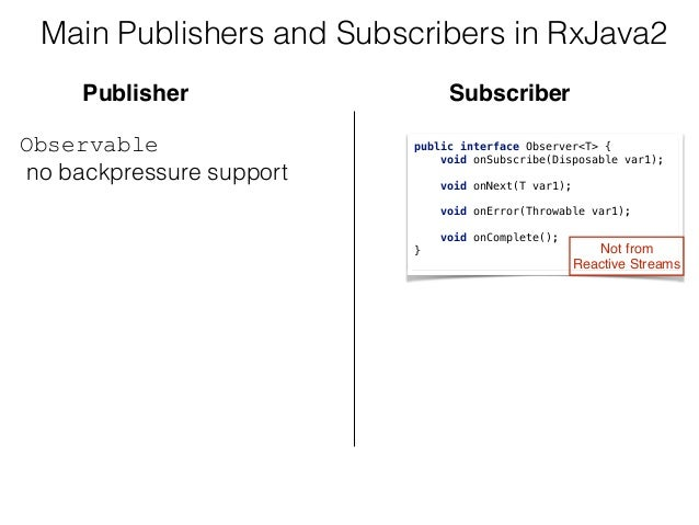 Main Publishers and Subscribers in RxJava2 Observable no backpressure support  public interface Observer<T> { void onSu...