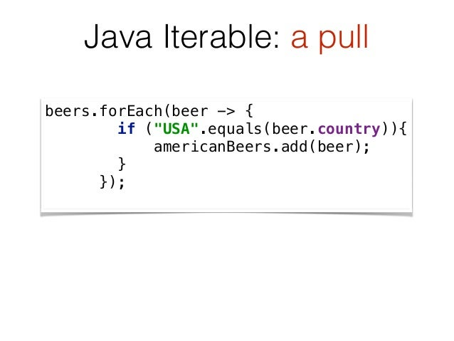 """beers.forEach(beer -> { if (""""USA"""".equals(beer.country)){ americanBeers.add(beer); } }); Java Iterable: a pull"""