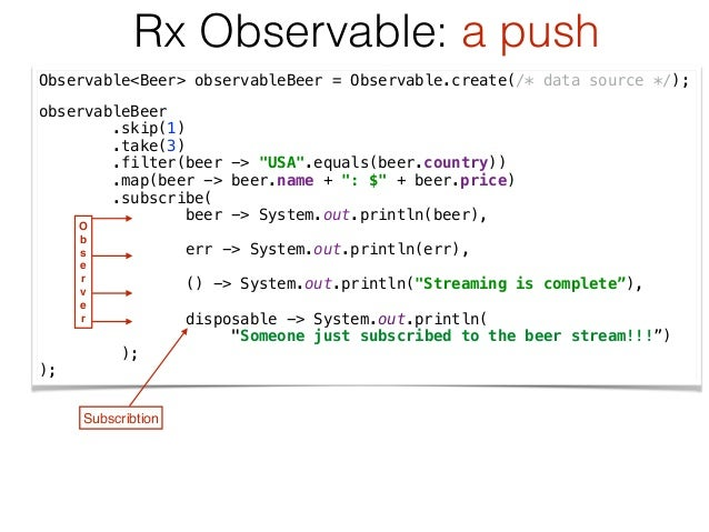 Observable<Beer> observableBeer = Observable.create(/* data source */); observableBeer .skip(1) .take(3) .filter(beer -...