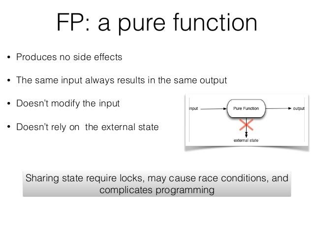 FP: a pure function • Produces no side effects • The same input always results in the same output • Doesn't modify the inp...