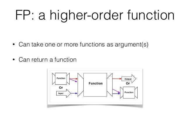 FP: a higher-order function • Can take one or more functions as argument(s) • Can return a function
