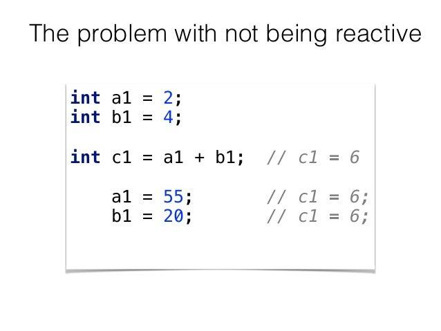 int a1 = 2; int b1 = 4;  int c1 = a1 + b1; // c1 = 6  a1 = 55; // c1 = 6; b1 = 20; // c1 = 6; The problem with not ...