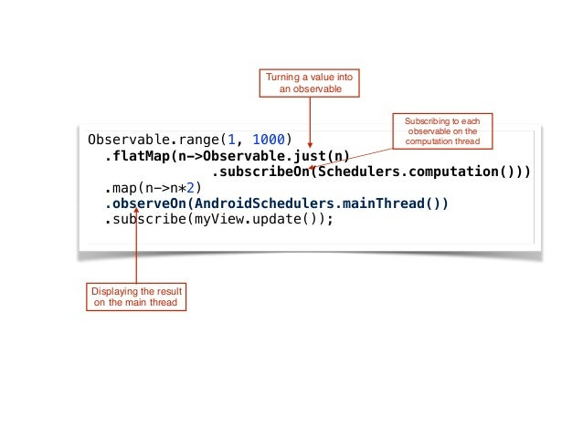 Turning a value into an observable Observable.range(1, 1000) .flatMap(n->Observable.just(n) .subscribeOn(Schedulers.comp...