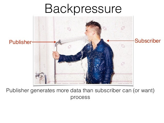 Backpressure Publisher Subscriber Publisher generates more data than subscriber can (or want) process
