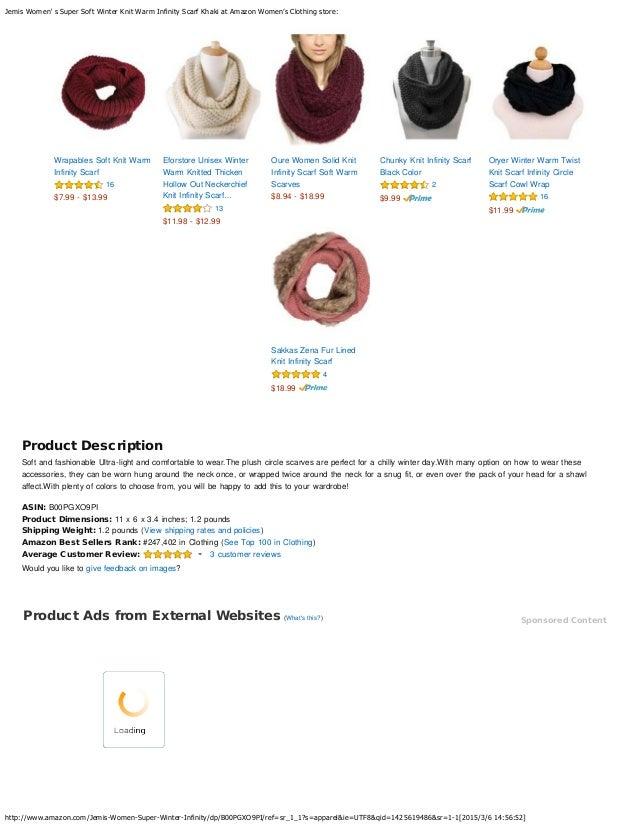 Jemis Women S Super Soft Winter Knit Warm Infinity Scarf