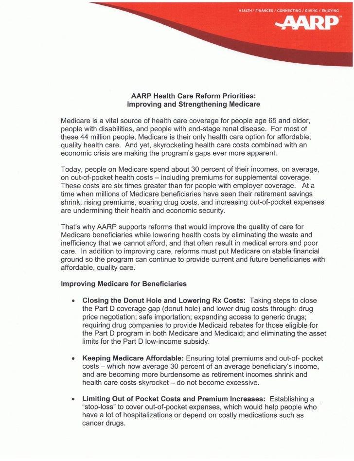 Rx Medicare Health Care Reform Priorities Improvingand Strengthening Medicare04 09 09