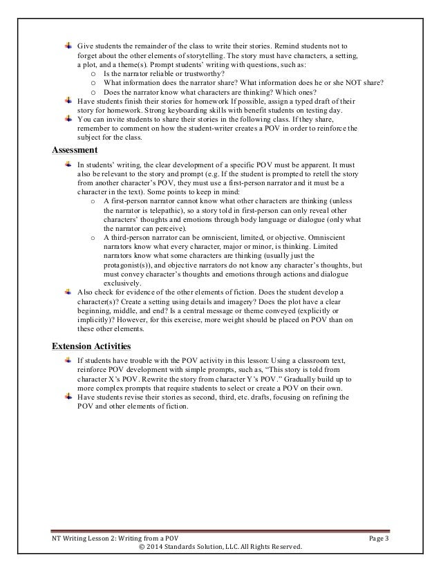 PARCC sample lesson plans Grade 4 Writing