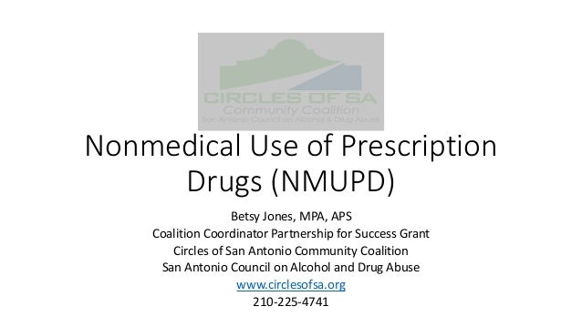 Nonmedical Use of Prescription Drugs (NMUPD) Betsy Jones, MPA, APS Coalition Coordinator Partnership for Success Grant Cir...