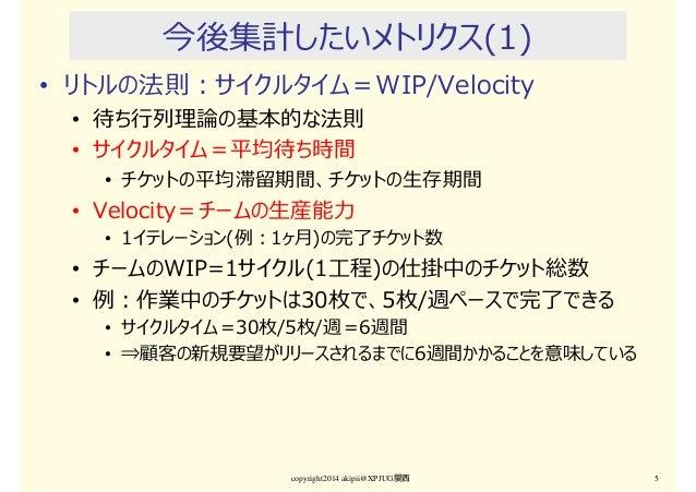 今後集計したいメトリクス(1) • リトルの法則:サイクルタイム=WIP/Velocity • 待ち⾏列理論の基本的な法則 • サイクルタイム=平均待ち時間 • チケットの平均滞留期間、チケットの生存期間 • Velocity=チームの生産能⼒...
