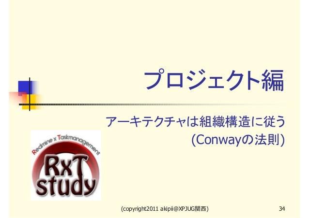 プロジェクト編 アーキテクチャは組織構造に従う (Conwayの法則)  (copyright2011 akipii@XPJUG関西)  34