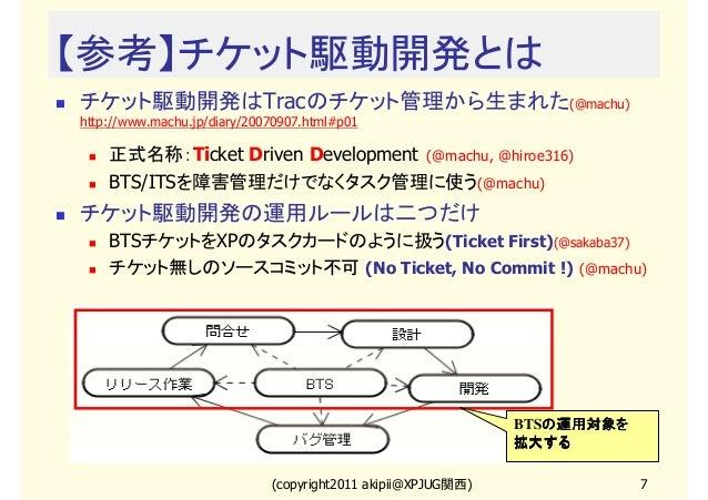 【参考】チケット駆動開発とは チケット駆動開発はTracのチケット管理から生まれた(@machu) http://www.machu.jp/diary/20070907.html#p01  正式名称:Ticket Driven Developm...