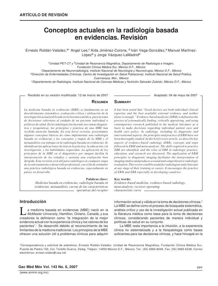 Roldán-Valadez y cols. ARTÍCULO DE REVISIÓN                       Conceptos actuales en la radiología basada              ...