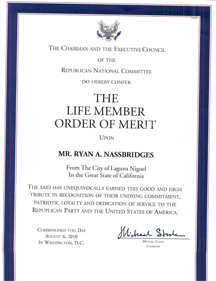 Ryan a. nassbridges and the life member order of merit