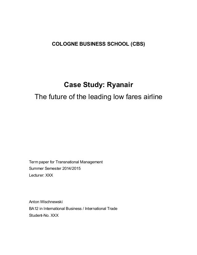 case study analysis ryanair the low fares airline management essay Indeed, an excellent pricing strategy for perishable assets results in a turnover increase, ceteris paribus, which can be quantified between 2% and 5%, according to zhao and zheng's (2000) study the analysis of fare levels and policies aims to understand the key factors in the achievements of low-cost carriers, including the effects of the competitive interaction between carriers (pels and rietveld, 2004).