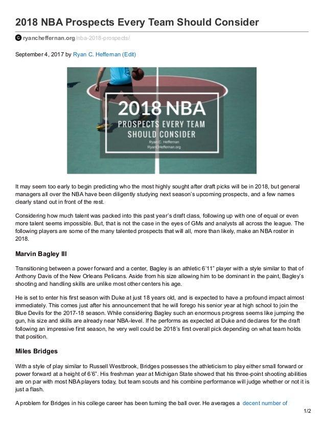 2018 NBA Prospects Every Team Should Consider ryancheffernan.org/nba-2018-prospects/ September 4, 2017 by Ryan C. Hefferna...