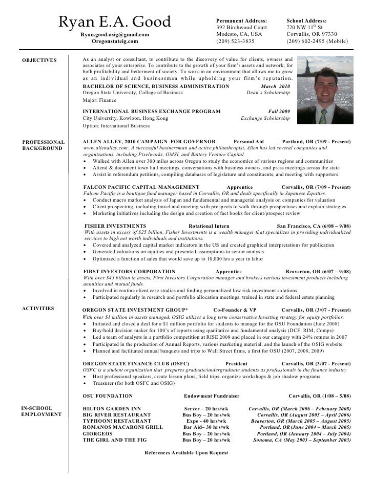Ryan E.A. Good Permanent ...  What Should A Good Resume Look Like