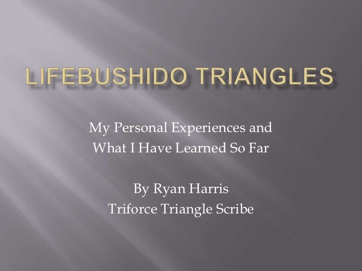 My Personal Experiences andWhat I Have Learned So Far      By Ryan Harris  Triforce Triangle Scribe