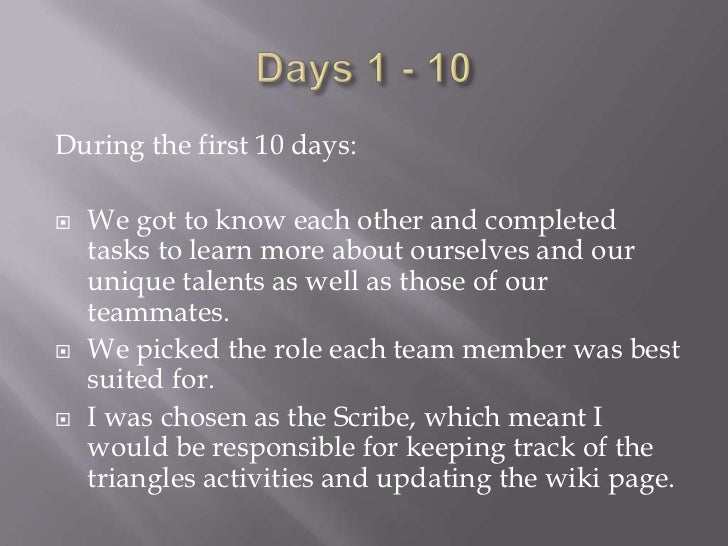 For Days 11 – 20:   We moved on to working on projects by    ourselves but still kept in contact with the    triangle lea...